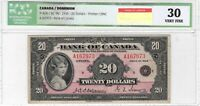 CANADA 1935 English Small Seal $20 bill ICG VF-30 Queen Elizabeth II BC-9b P-46b