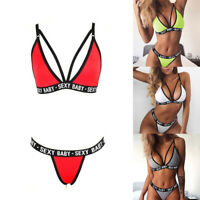 Women Triangle Polyester Letter Swimsuit Bikini Printed Summer Hollow