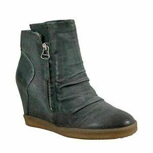 Miz Mooz Alexandra Women Wedge Ankle Booties Size US 6.5 EUR 37 Granite Leather