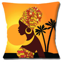 African Tribal Lady Silhouette Sunset Cushion Cover 16 inch 40cm