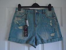 BNWT £16 distressed blue denim hot pants short shorts + diamante detail Size 10