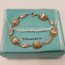 Rare Tiffany & Co. Sterling Silver & 18k Gold Scarab Beetle Bug Bracelet