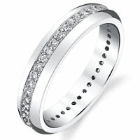 4mm Sterling Silver 925 Women's Eternity Ring Engagement Wedding Band  Round CZ