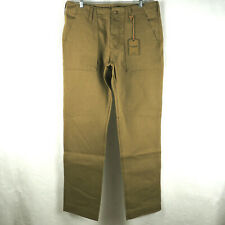 Filson Men's Supply Pant Military Button-Fly Thick Cotton Dark Tan Brown 34x34