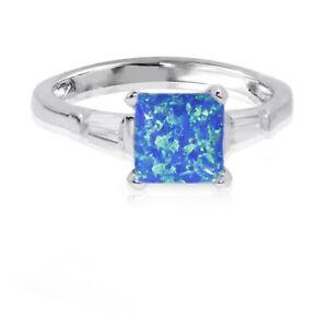Prinzessin Quadrat Schliff Versprechen Verlobung Blau Feuer Opal W Baguette Cz