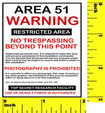Miniature   AREA 51 WARNING   Sign  - Dollhouse  1:12 Scale