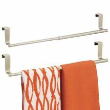 mDesign Expandable Kitchen Over Cabinet Towel Bar Rack, 2 Pack - Satin