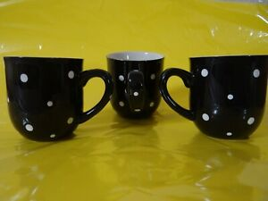 PRE-OWNED Temp-Tations Black with White Polka Dots Mugs Lot of (3)