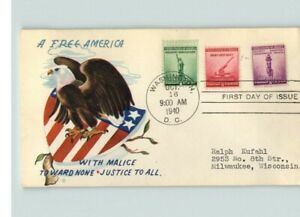 NATIONAL DEFENSE, 1941 with World War II Patriotic cachet, 1, 2, 3 cent stamps,