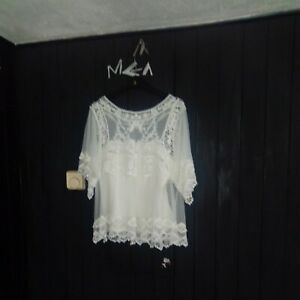 ivory smock top beautiful ❤️ 14 mesh lace
