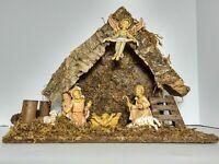 Vintage Fontanini Nativity Set Manger Holy Family Wood Moss Gloria Angel Roman