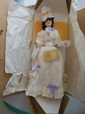 COKE coca cola Franklin Heirloom Dolls girl lady white dress basket flowers