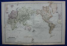 THE WORLD ON MERCATOR'S PROJECTION, original antique map, Blackie, 1882
