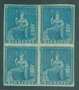 SG 3 Barbados 1852-55 (1d) blue. Fine fresh mounted mint block of 4. Full...