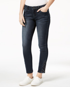Earl Jeans Lace Up Hem Skinny Jeans Dark Blue Wash size 00