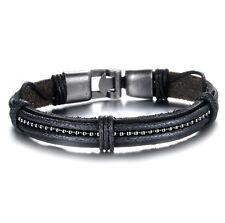 Mens Black Genuine Leather String Wristband Bracelet Stainless Steel Surfer