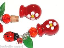 1 Red Daisy round ladybug Glass essential oil perfume urn cork necklace BOTTLE