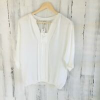 NWT $208 Joie Marru Silk Pintucked Elastic Hem Blouson Top Blouse S