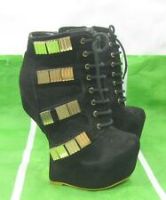 """new Black/Gold  6""""High Wedge Heel LESS 2""""Platform Sexy Ankle Boot  Size  6"""