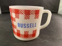 Vintage Milk Glass Coffee Mug Westfield~Red, White Gingham Plaid~'Russell'