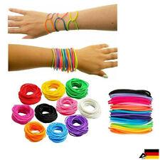 12x Neon Gummi Armbänder Freundschaft Armreifen Shag Bands Schmuck Mode ABAV