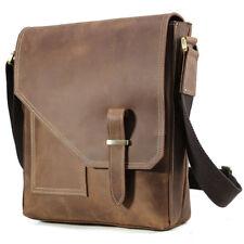 Men's Genuine Leather Shoulder Bag Small Satchel Crossbody Messenger iPad Brown
