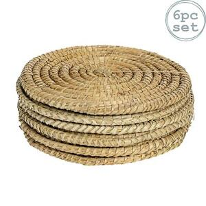 Round Straw Placemats Water Hyacinth Weave Rattan Place Mat Set - Palm Leaf - x6