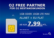 Handyvertrag ohne Handy SIM o2 Free 1GB oder 10GB LTE MAX ab nur 7,99€ mtl.