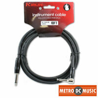 """Kirlin 10ft Right-Angle Guitar Bass Instrument Cord Cable Black 20AWG 1/4"""" NEW"""