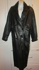 Women Men Unisex Genuine Long Black Leather Trench Coat W Zip In Winter Liner