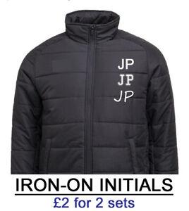 "Iron On Initials Sports Football Coach Shirt Transfer White Black Red Blue 2"""