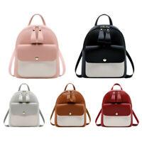 Women Girls School Bag Pu Leather Backpack Mini Backpack Purse Travel Handb Y9B0