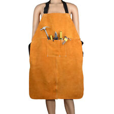 Leather Welding Bib Blacksmith Apron Heat Insulation Safety Work Supplies Pocket