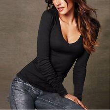 Women's Casual Long Sleeve T Shirt V-Neck Blouse Ladies Slim Cotton Shirt Tops