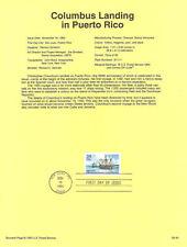 #9334 29c Columbus/Puerto Rico #2805 USPS Souvenir Page