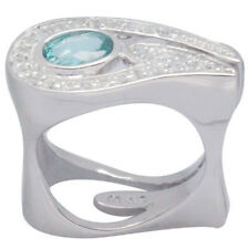 De Buman 1.40ctw Apatite & White Topaz  925 Silver Ring, Size 7
