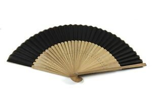 Black bamboo hand held fan Chinese Japanese Geisha Folding Handheld Menopause UK