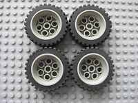 Lego 13x24 Technic Wheels LOT OF 4 Tires with Gray Rims Construction Car Truck