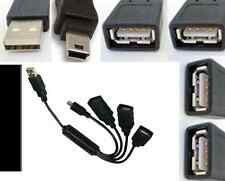 4port/Jack USB 2.0 Hub:Type A M~3*Female+5pin Mini Male for Phone/Tablet/MP3$SHd