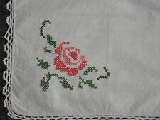 1970S Vintage Napkin Hand Embroidered Bulgaria Rose Cross Stitch Table Decor Net
