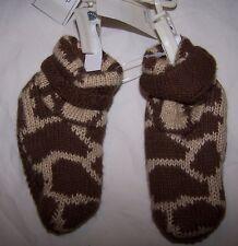 NWT BABY GAP Brown Sweater Knit Animal Print Booties 3-6 mo Free US Shipping