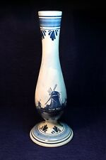 Vintage Tall Hand Painted Delft Marked Vase
