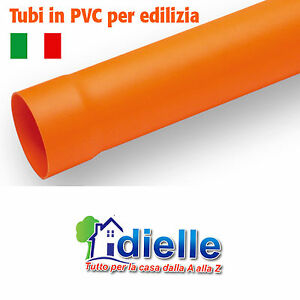 TUBO lunghezza 1 metro PVC PLASTICA ROSSA ARANCIO ACQUA FOGNA VARI DIAMETRI