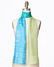 Brand New Ann Taylor Colorblock Thatch 100% Silk Scarf Color Blue/Green