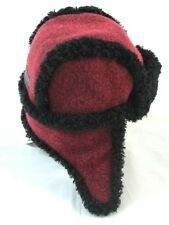 Burberry Red Real Shearling Lined Aviator Cotton Blend Hat Cap 50cm  $210 BNWT