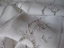 ANTIQUE FRENCH PAIR LINEN CURTAINS - Embroidery Renaissance - Hand Crochet Lace