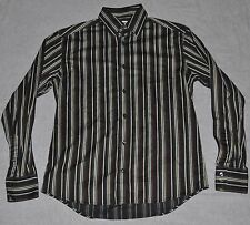 VERSACE COLLECTION Striped Dress Shirt Men's 15.5 EURO 39 GIANNI Black Brown