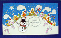 Hallmark PIN Christmas Vintage SNOWMAN Cloisonne GREETING CARD Holiday NEW