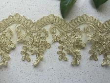 1Yards Embroidered Lace Trim DIY Sewing Crafts Vintage Decor 9cm Width Gold