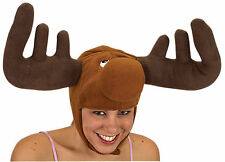MOOSE HAT ELK DEER REINDEER BULLWINKLE W/ HORNS ANTLERS ANIMAL COSTUME HAT CAP